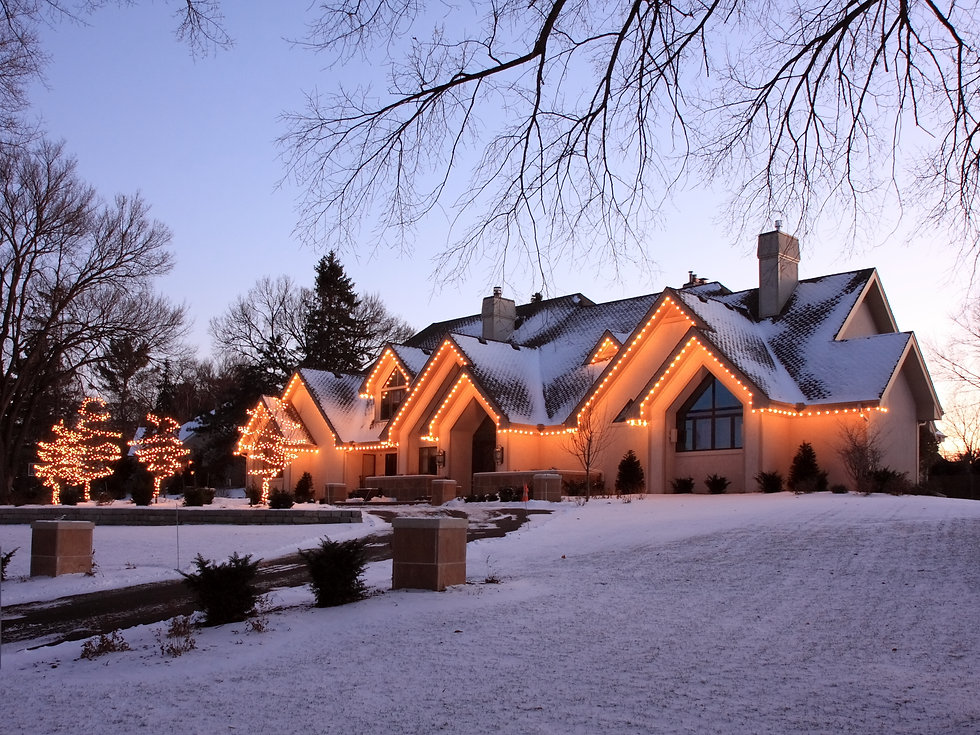 residential house with christmas decorat