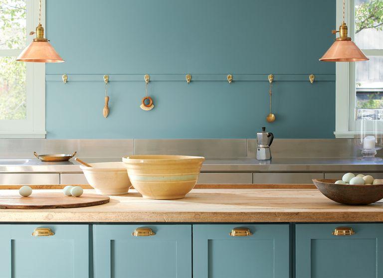 Teal Kitchen. Benjamin Moore Aegean Teal