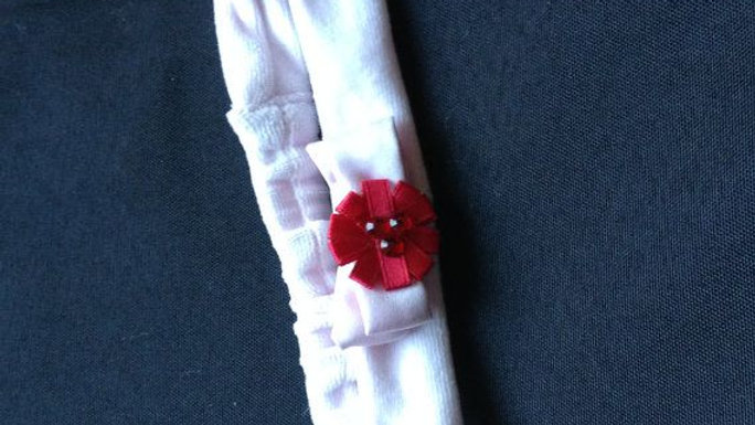 Pink Baby Girl Headband with Red Christmas Flower
