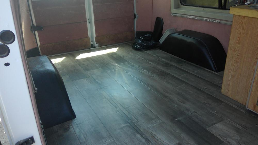 linoleum flooring, automotive wood flooring solutions, rubber mat flooring, wood floor in cars, custom van wood flooring.