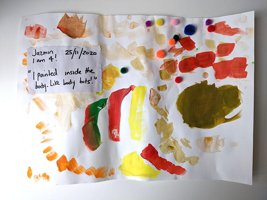 Jaz creates her masterpiece with acrylic paint and pom poms!