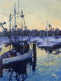 Fishing Boat at Sunrise 12x16