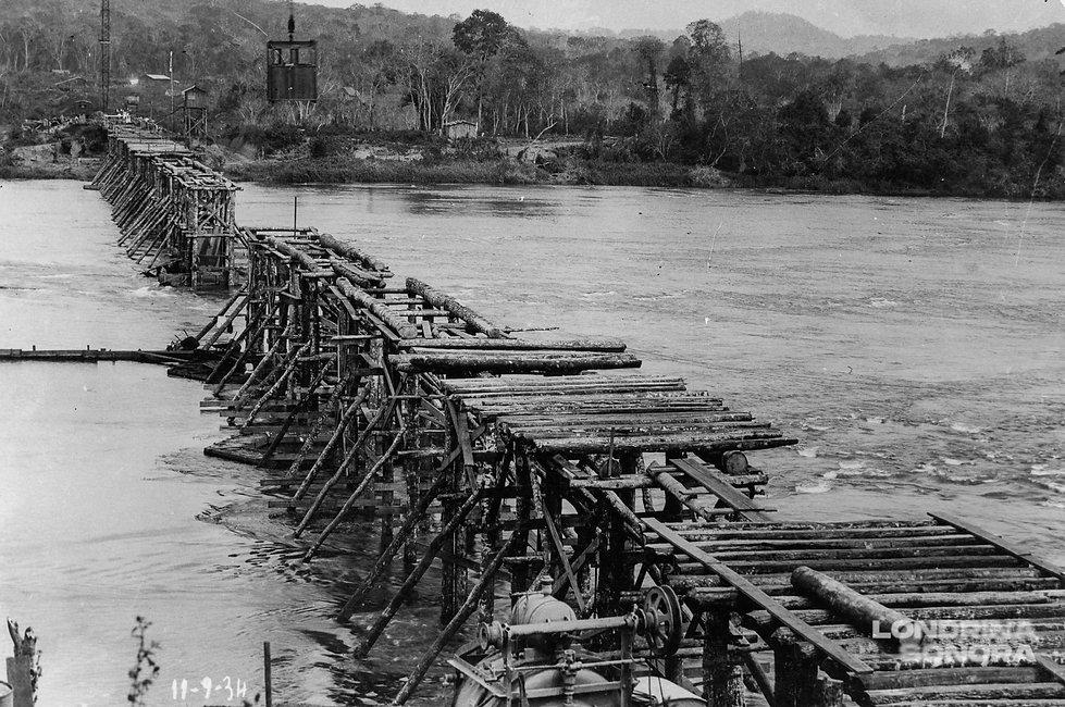 Construção de uma ponte com madeira em grande extensão de água com vegetação ao fundo