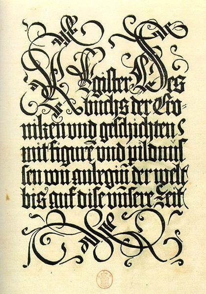 early fraktur script and chisel-edge pen flourishes