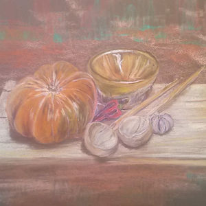 Moroccan soup, pastel painting by Karima Powell
