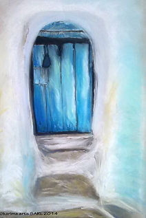 Blue Door pastel paintng