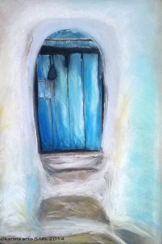Pastel Drawing Blue Door