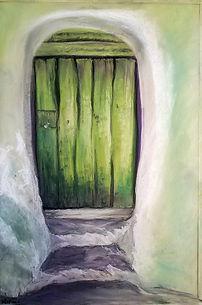 Green Door pastel paintng