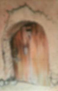 Bounou Kasbah Door Pastel painting