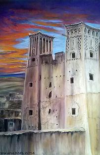 The Kasbah, pastel painting, Karima Powell