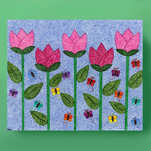 Tulips and Butterflies Card