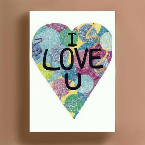 I Love U Heart Card