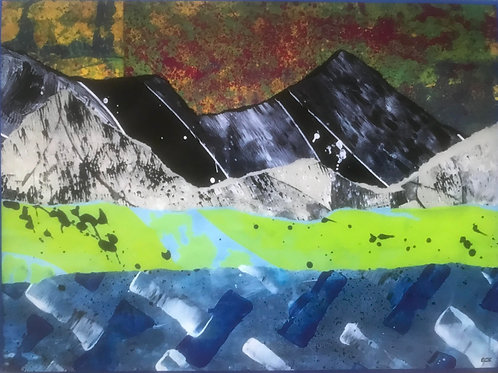 Abstract Mountains in Blue