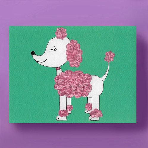 Preppy Pink Poodle Card