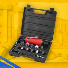 "Retificadeira reta pneumática 1/4"" - kit 14 peças| WORKER"