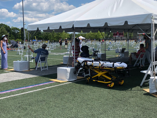 Stretcher stationed on the field