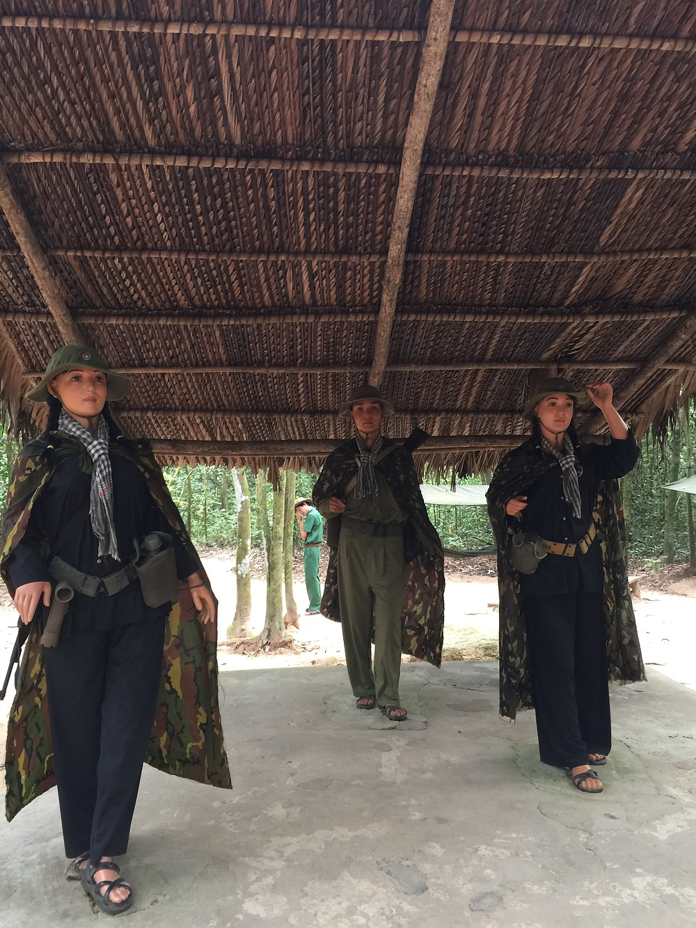 Life size statues of Vietcong army..