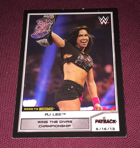 AJ Lee WWE Wrestling Trading Card - With Belt