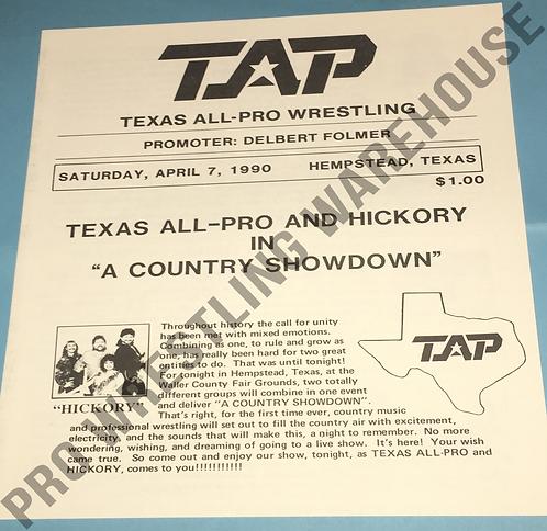 TAP Wrestling Program - April 7th, 1990, Hempstead, Texas