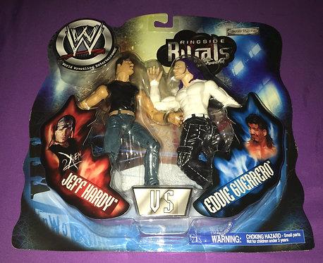 """WWF/WWE Jakks """"Ringside Rivals"""" Jeff Hardy -vs- Eddie Guerrero Wrestling Figures"""