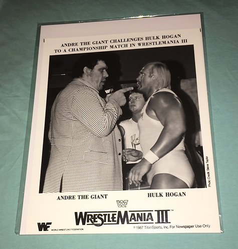 "Andre The Giant -vs- Hulk Hogan ""Wrestlemania 3"" 8x10 Promo Photo"