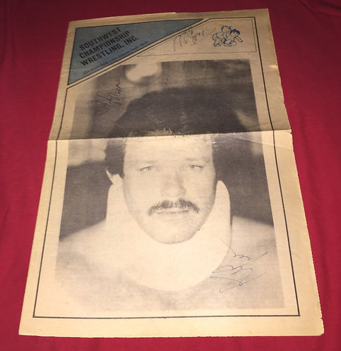 Southwest Championship Wrestling Newspaper - March 1982, Autographed