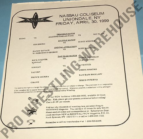 WCW Wrestling Line up sheet April 30th, 1999 - Nassau Coliseum, Uniondale, NY
