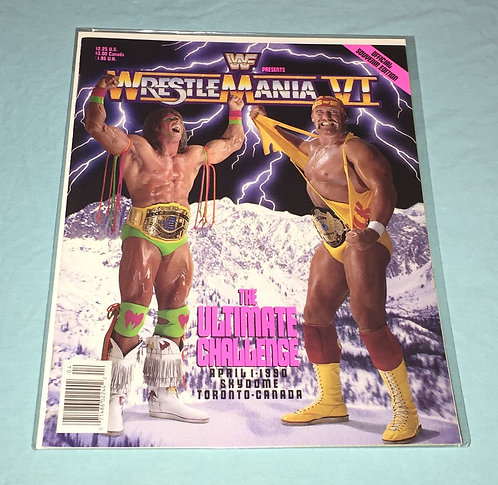 WWF/WWE Wrestlemania 6 Wrestling Program - Hulk Hogan -vs- Ultimate Warrior