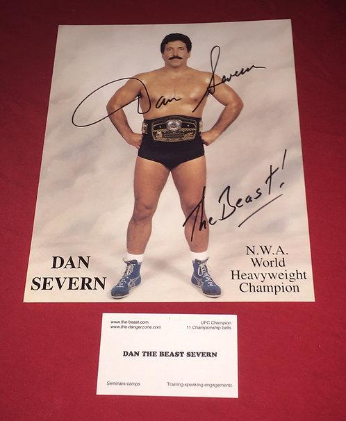 "Dan ""The Beast"" Severn Autographed 8x10 Promo Photo - NWA Belt"
