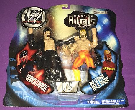 "WWF/WWE Jakks ""Ringside Rivals"" Hulk Hogan -vs- Undertaker Wrestling Figures"