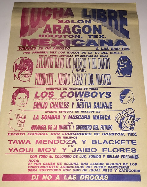 CMLL Wrestling Poster - Early 90's Houston, Texas