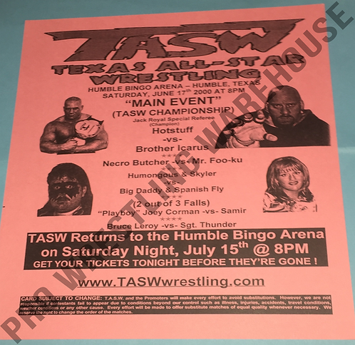 TASW Wrestling Flyer - June 2000, Humble, Texas. Humongous, Icarus, Skyler
