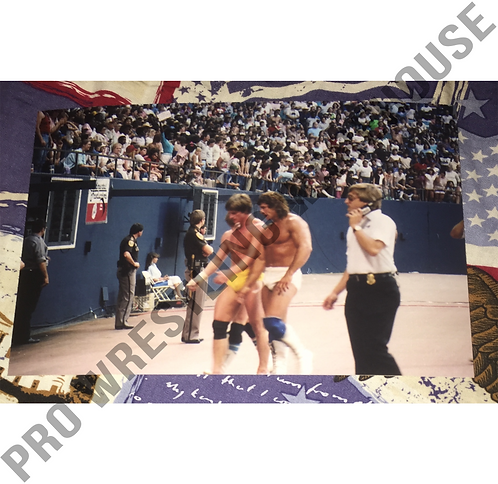 Kerry & Kevin Von Erich after match at Texas Stadium, May 1985, 4x6 Photo