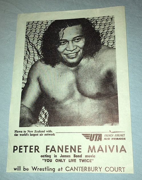 Peter Maivia Vintage Wrestling Flyer from New Zealand.