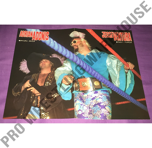 Adrian Adonis & Jesse Ventura with AWA Tag Belts - Vintage Poster from Japan