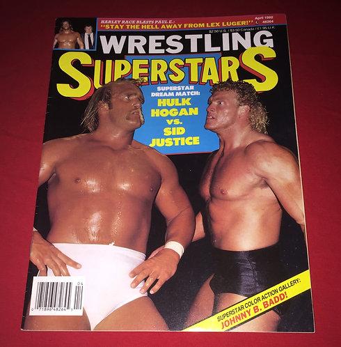 Wrestling Superstars Magazine April 1992 - Hulk Hogan, Sid Vicious Justice