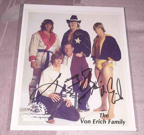 Kerry & Kevin Von Erich Autographed WCCW Family Promo Photo