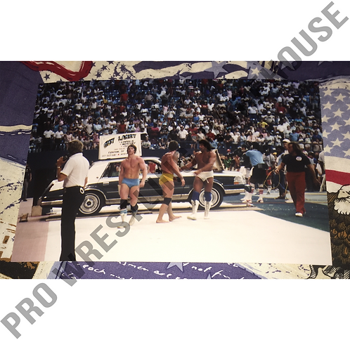 Kerry, Kevin, Mike Von Erich, 4x6 Photo, Texas Stadium May 1985, Car smashed!