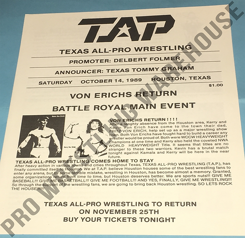 TAP Wrestling Program - October 14th, 1989 - Houston. Kerry & Kevin Von Erich