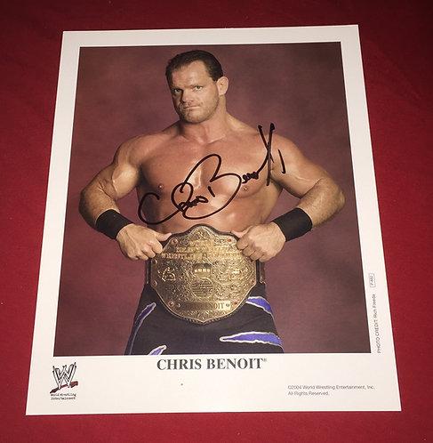 Chris Benoit Autographed WWF/WWE 8x10 Promo Photo posed with Belt