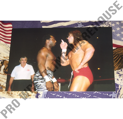 Kerry Von Erich & BrickHouse Brown Face to Face, 4x6 Wrestling Photo, USWA, WCCW