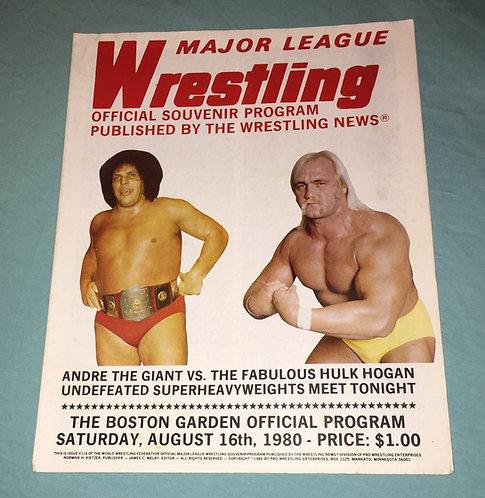 WWF/WWE Wrestling Program, August 16th, 1980, Boston Garden, Hulk Hogan, Andre!