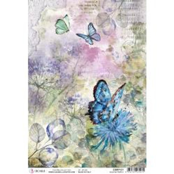 Blue Butterfly, Microcosmos Rice paper