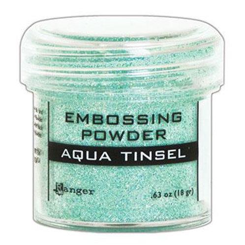 Embossing Powder - Aqua Tinsel