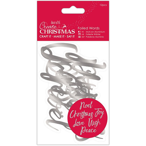 Silver Christmas Foiled Words Stickers