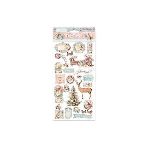 Pink Christmas Chipboard Stickers