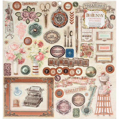 Family Heirlooms chipboard stickers
