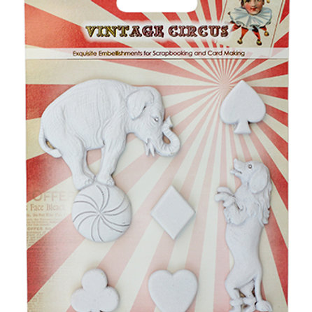 Circus White Polymer Embellishments