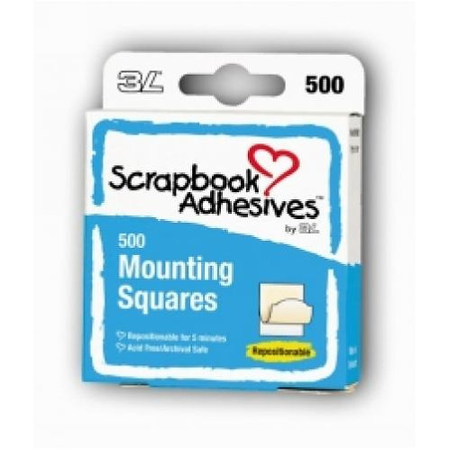 3L Mounting Squares Repositionable - 500 Pack - White
