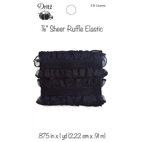 Black Sheer Ruffle Elastic